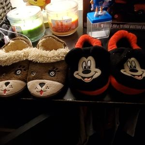 Unisex mickey mouse and doggie house slippers